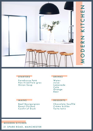 White and Blue Modern Kitchen Menu Drink Menu
