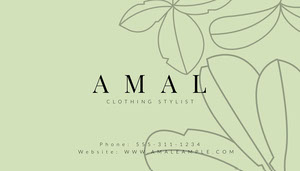 Green and Black Amal Clothing Stylist Business Card  Tarjeta de visita