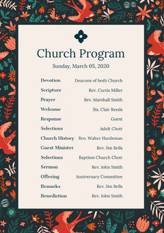 Floral Sunday Church Program Flyer Christianity
