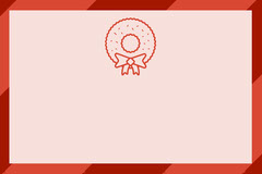 Red and Pink Christmas Name Tag with Wreath Seasonal