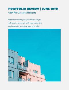 White Blue Portfolio Review Newsletter Workshop