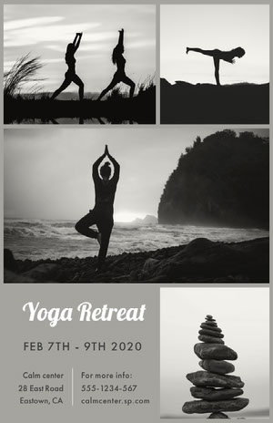 Black and White Yoga Retreat Poster Yoga Posters