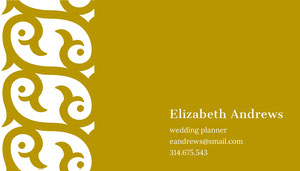 Brown Ornate Wedding Planner Business Card Tarjeta de visita