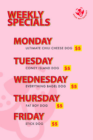 Pink Playful Weekly Menu Weekly Menu