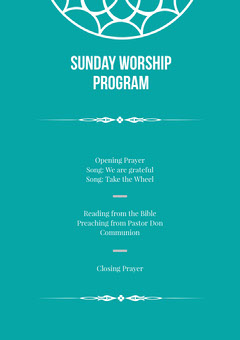Blue and White Sunday Worship Program Flyer Sunday