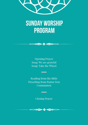 Blue and White Sunday Worship Program Flyer Communion Annoucements