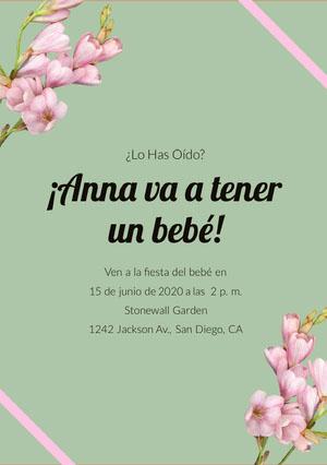 mint green and flower baby shower invitations  Invitación de fiesta de nacimiento