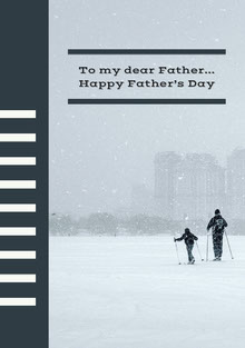 Black and Winter Background Father's Day Card Carte de Fête des pères