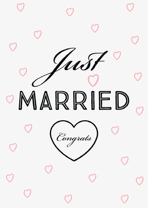 pink black just married card Biglietto di congratulazioni