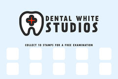 Baby Blue Dental White Studios Loyalty Stamp Card Dentist