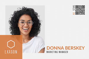 White, Orange and Black, Marketing Manager ID Card Dienstausweis