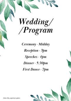 Leafy Elliot Wedding Schedule A5  Leaf