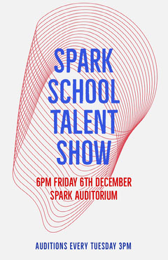 Blue and Pink Spark School Talent Show Poster Talent Show Flyer