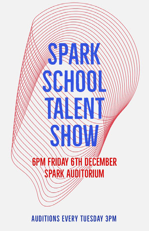 Blue and Pink Spark School Talent Show Poster Pink Flyers