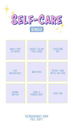 self care bingo instagram story Bingo-Vorlagen für die Quarantäne