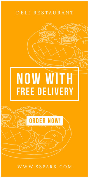 NOW WITH FREE DELIVERY 광고 전단지