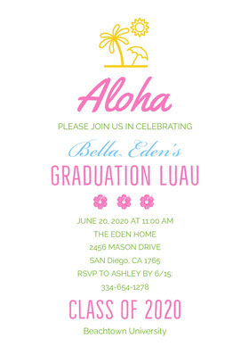 Aloha  Graduation Invitation