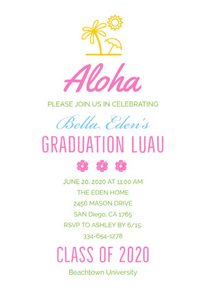 Colorful Hawaiian Style Graduation Party Invitation Card Convite para formatura