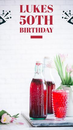 Red 50th Birthday Snapchat Story Juice