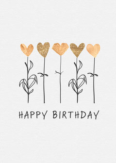 Black and White and Gold Flowers and Hearts Happy Birthday Card  Birthday