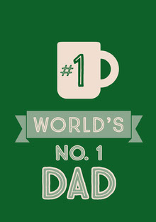 Green and White Father's Day Card Farsdagskort
