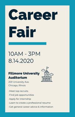 Blue Career Fair University Event Flyer Fairs
