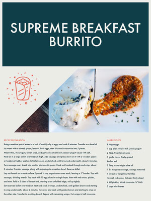 Breakfast Burrito Recipe Card 조리법 카드