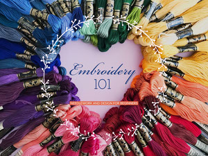 Multicolored Embroidery for Beginners Presentation Slide with Threads Presentación