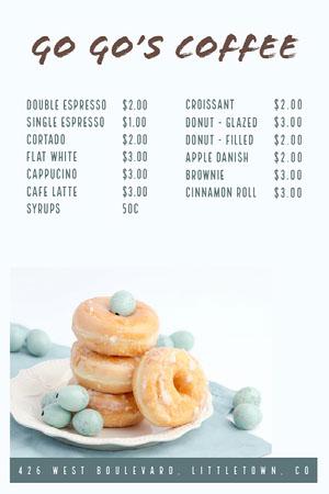 White and Blue Go Go's Coffee Menu Cafe Menu