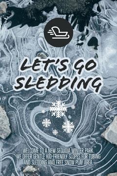 Pale Blue Winter Park Ski Resort Sledding Ad Winter