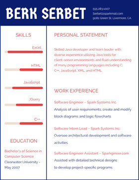 Blue and Red Software Engineer Resume Creative Resume