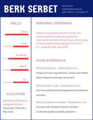 Blue and Red Software Engineer Resume Resume  Examples