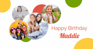 White Maddie Birthday Collage Facebook Post Créer vos publications Facebook
