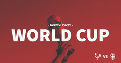 Red Toned World Cup Watch Party Facebook Banner Soccer