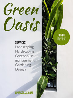 Green and White Gardening and Landscaping Service Ad Flyer with Plants Garden