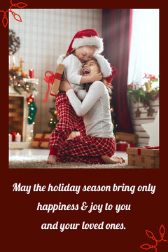 Red Christmas Card with Children Photo Boys