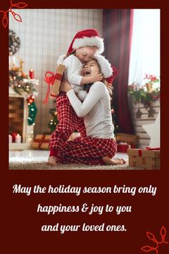 holiday photo card hug Kids
