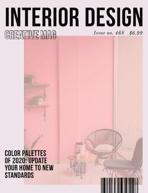 Pink Minimalist Interior Design Magazine Cover Portada de revista