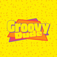 Yellow Retro Groovy Dude Slang Saying Instagram Square Groovy