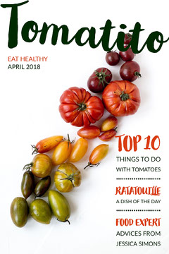 Food Magazine Cover with Tomatoes Healthy