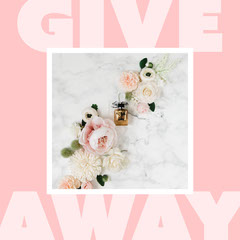 pink white floral perfume giveaway instagram square  Giveaway