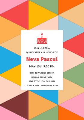 Multicolored Pattern Quinceanera Birthday Invitation Card Birthday Invitation (Girl)