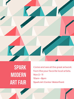 Pink, White and Blue Modern Art Fair Poster Affiche d'art