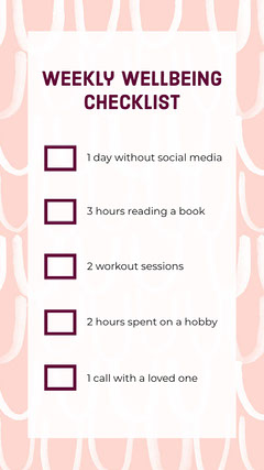 Pink Wellbeing Checklist Interactive Instagram Story Wellness