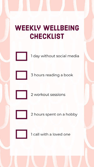 Pink Wellbeing Checklist Interactive Instagram Story Checklist Maker