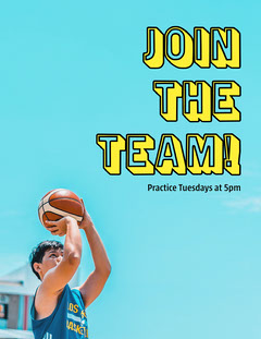 blue yellow basketball join the team sign up letter  After School