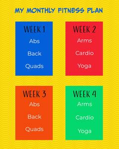Yellow Bright Fun Fitness Plan Instagram Portrait  Fitness