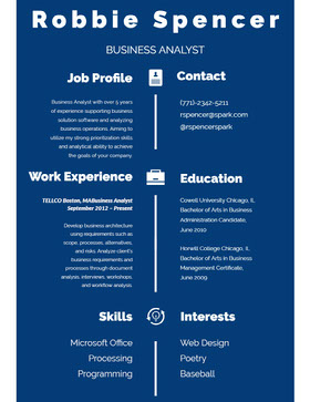 Blue and White Infographic Resume Currículo profissional