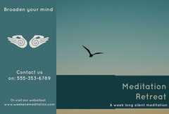 Teal Meditation Retreat Brochure with Bird and Sky Wellness