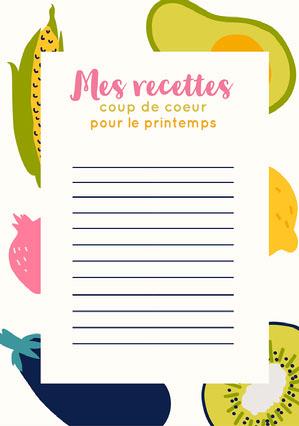 Colourful vegetable Spring Recipes List A5  Fiche de recette